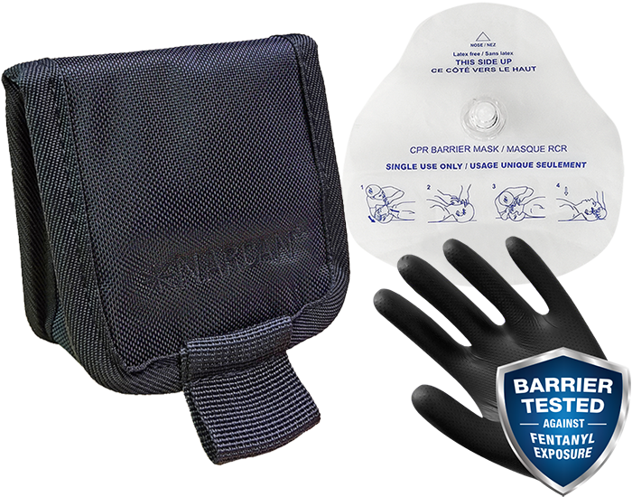 Rescue breathing barrier, gloves and pouch